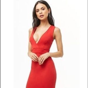 Watermelon red bodycon dress with back cut out
